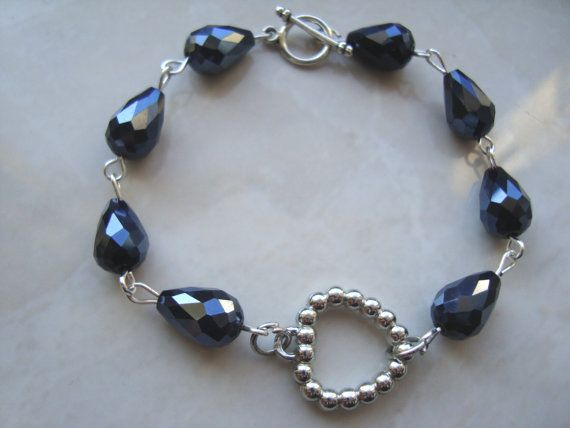Heart bracelet heart jewelry blue metallic beads by BiancasArt