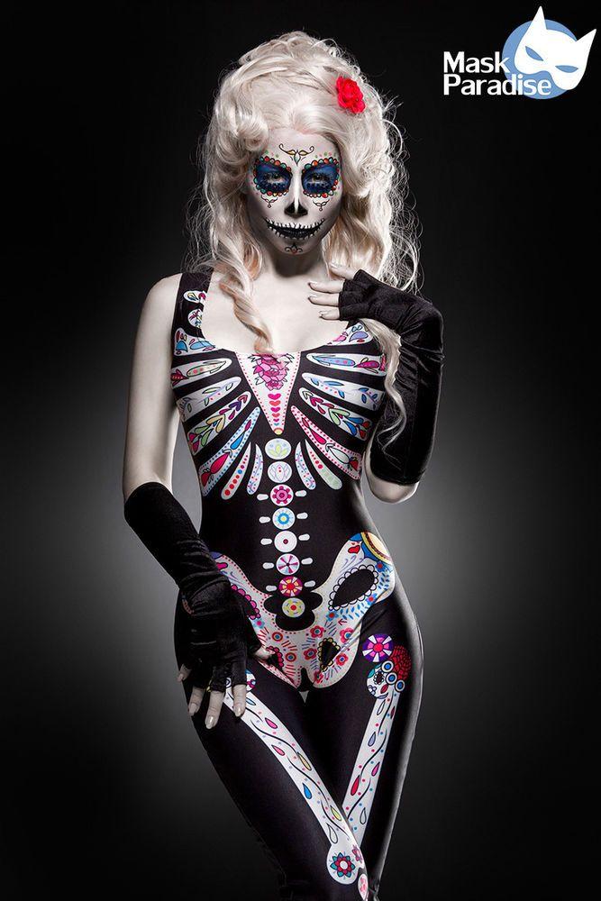 NEU Mexican Skull Overall Hallowen Damen Kostüm Scary Karneval Fasching Gr XS-M