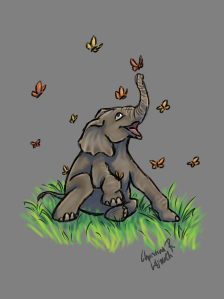 Baby Elephant; drawing by ArtWolf