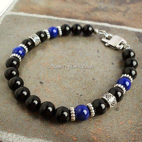 Mens Bracelet Black Onyx and Blue Lapis Gemstone, Handcrafted for Men  | Mamis_Gem_Studio - Jewelry on ArtFire