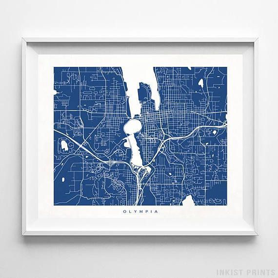 Olympia Map, Washington Print, Olympia Poster, Washington Poster ...
