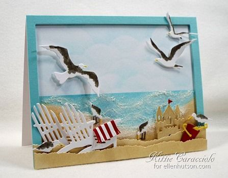 Impression Obsession die cuts TRANSFORMED into this lovely beach scene card by Kitte Caracciolo for Ellen Hutson LLC. #ellenhutsonllc #ellenhutsonllcblog
