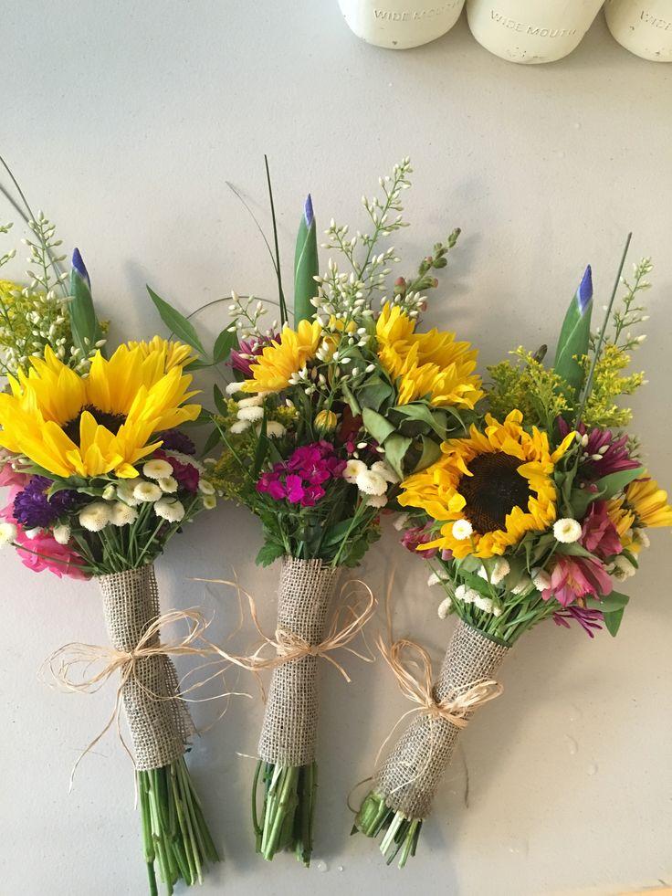 Bridesmaids bouquet's, wildflower and sunflower theme