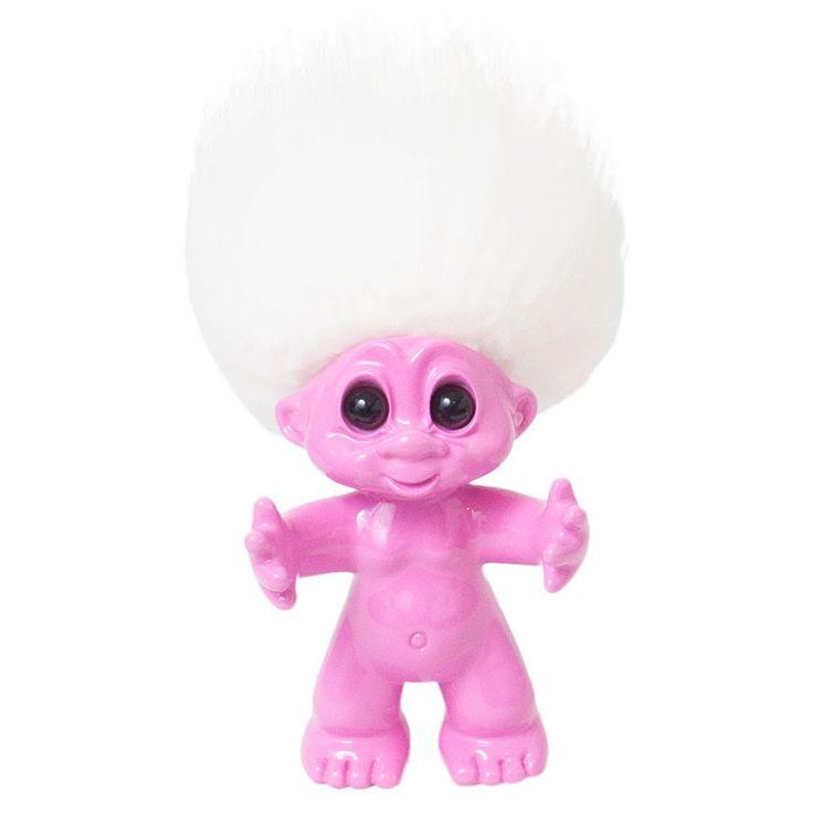 Lykketrold pink/hvidt hår 9 cm