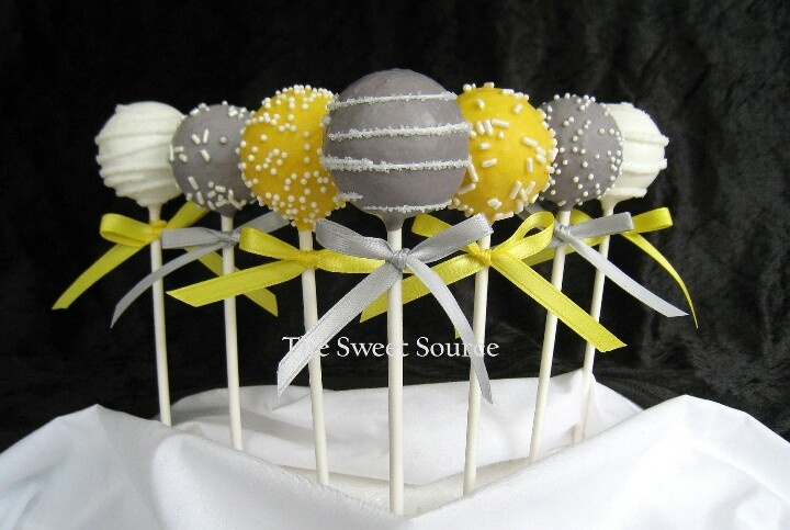 Yellow And Grey Cake Pops Cute For Candy Table Yellow