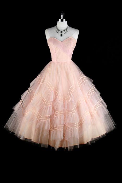 1950s pink formal dress