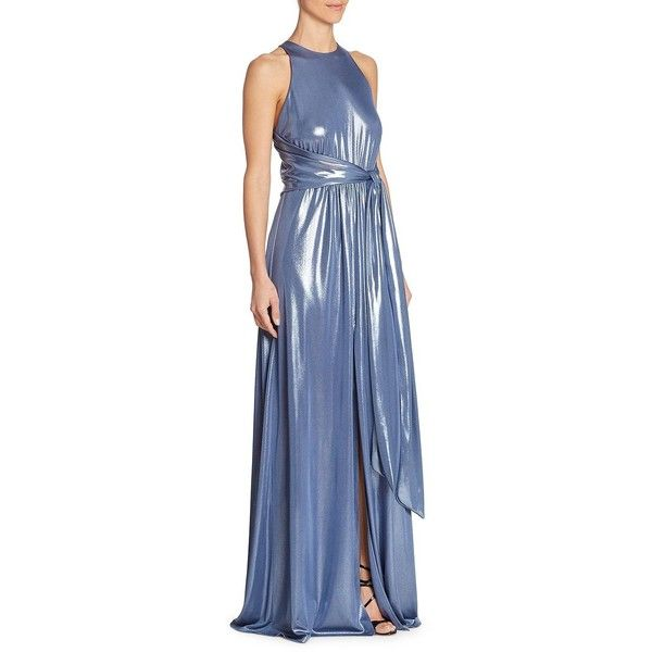 Halston Heritage Women's Metallic Sleeveless Gown ($237) ❤ liked on Polyvore featuring dresses, gowns, metallic coastal blue, blue jersey, jersey dresses, blue sleeveless dress, halston heritage gown and sleeveless dress