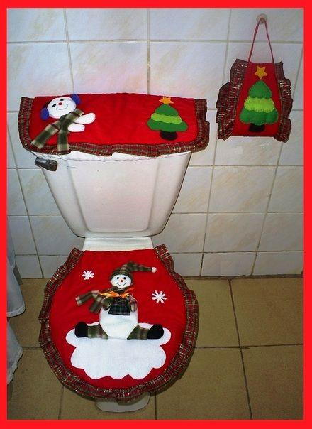 Juego De Baño Navideno A Crochet:Manualidades Para El Bano De Navidad