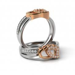 Inel de logodna din aur alb cu roz cu diamante Benedict