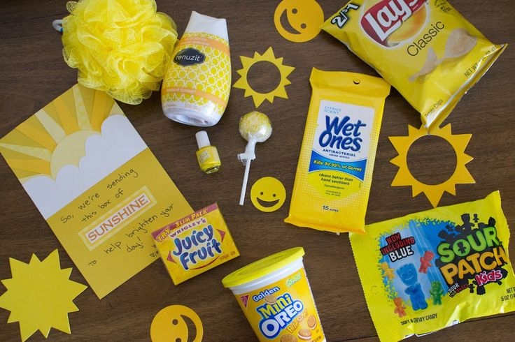 Box of Sunshine.  A great gift for someone who needs a little pick-me-up.  She also includes a list of items you can put in the box!