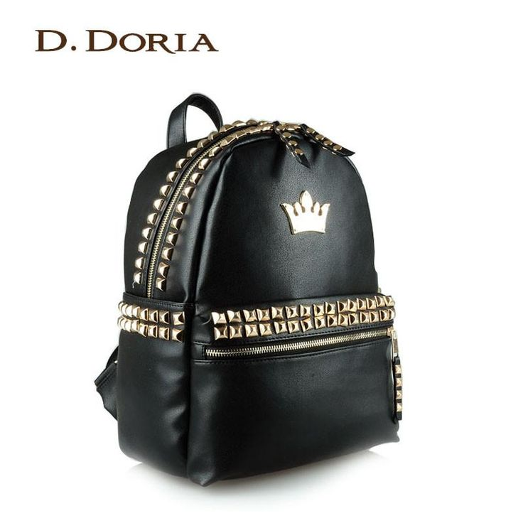women new fashion rivet backpack preppy style school bag travel portable bag laptop