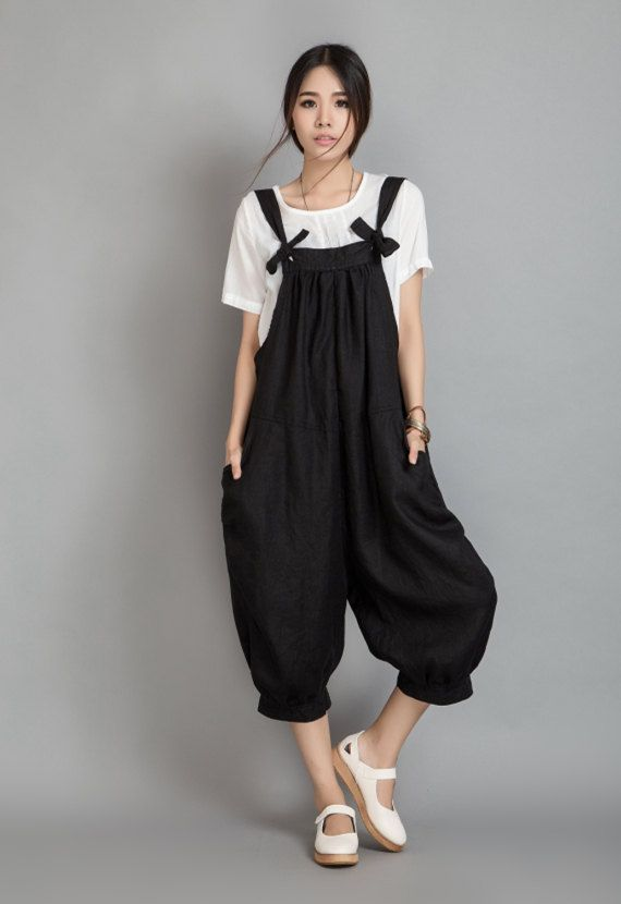 Wide Leg Pants Linen Overalls In Black 80600 by Lantingstyle