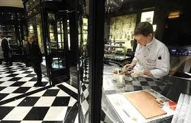 Watching chocolate being made at The Savoy!