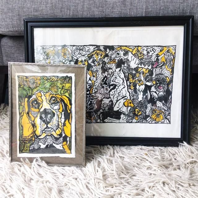 Beagle and dogs drawing in ink and ecoline