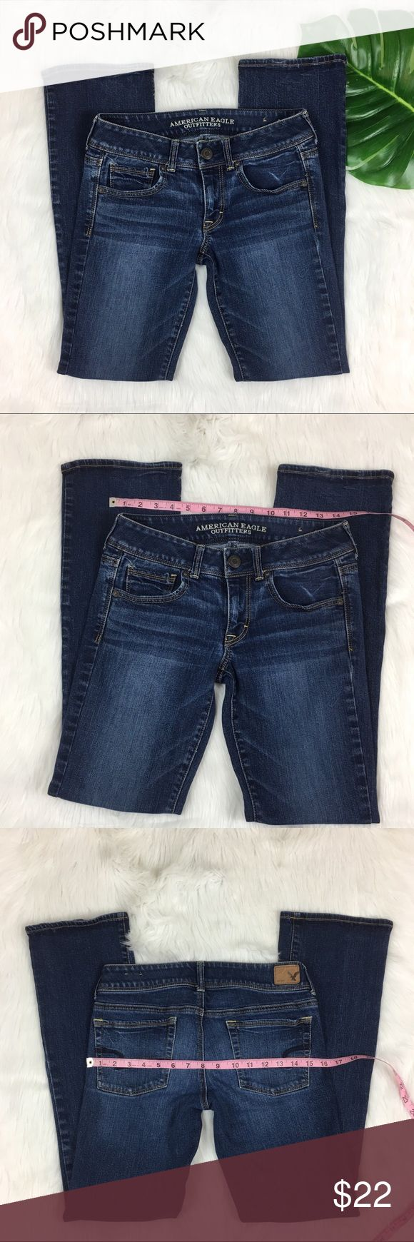 American Eagle Kick Boot Stretch Jeans American Eagle Kick Boot Stretch Jeans. Size 6 regular with 30' inseam and 7' rise. Pre-owned condition with some wear. Hems as shown are in good condition.  ❌I do not Trade 🙅🏻 Or model💲 Posh Transactions ONLY American Eagle Outfitters Jeans Boot Cut