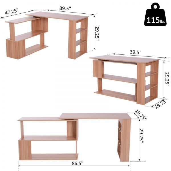 Homcom 360 Degree Rotating Home Office Corner Desk And Storage Shelf Combo Writing Table Maple L Shaped Desks Aosom Ekonomyashaya Prostranstvo Mebel Shikarnyj Stol Mebelnye Proekty