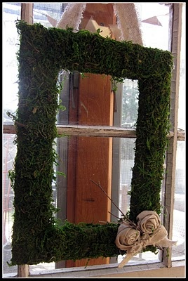 square moss wreath....I did this once using an ugly frame that I would have just donated or thrown away as a base.