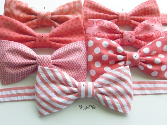 Coral Groomsmen Bow Tie Mix And Match Coordinating Custom Wedding Bow Ties in 100% Designer Cotton For Boys, Toddlers, Girls, Men