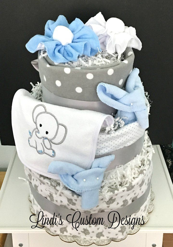 Blue Grey Elephant Diaper Cake With Receiving Blankets