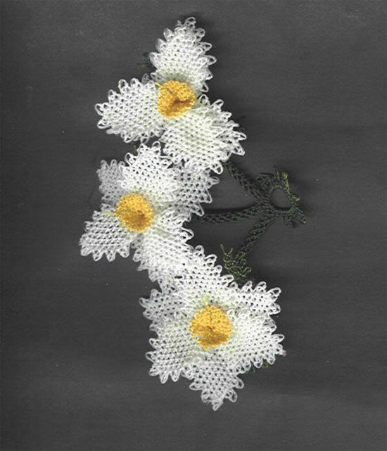 beyaz sarı iğne oyaları - daffodil oya