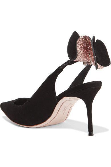 Sophia Webster - Edie Bow-embellished Suede Slingback Pumps - Black - IT37.5