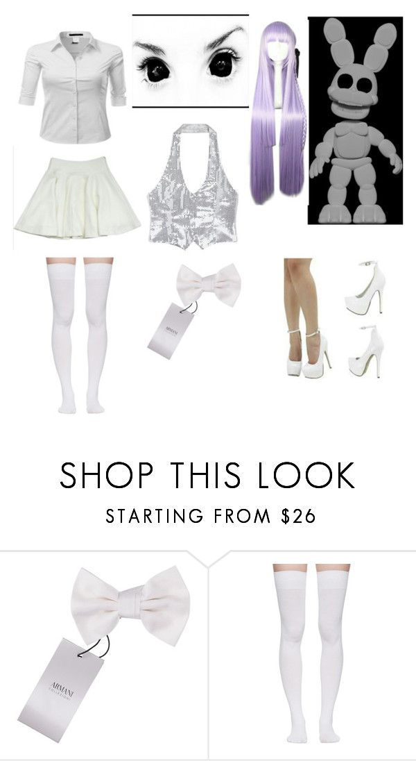 """""""fnaf world white rabbit outfit"""" by zoeburton061 ❤ liked on Polyvore featuring Armani Collezioni and Marieyat"""