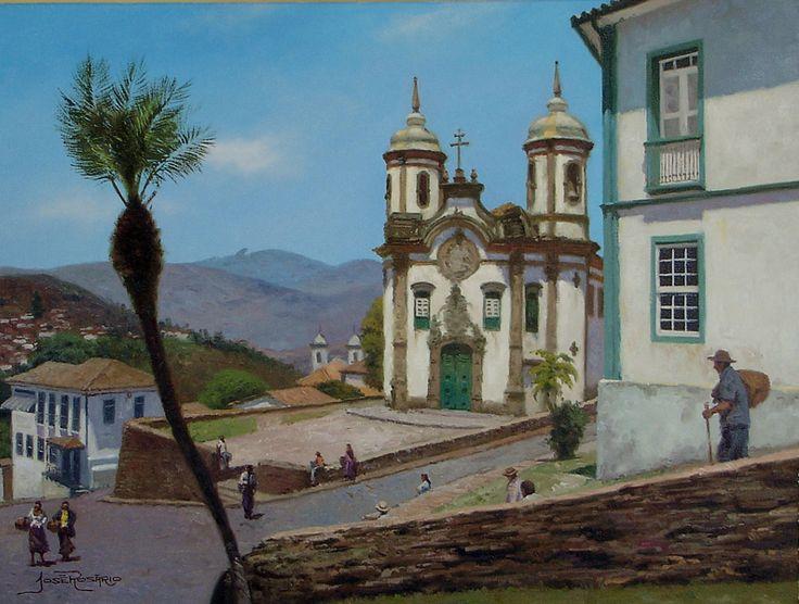 Igreja de São Francisco, Ouro Preto. 2011. Óleo sobre tela. José Rosário Souza (Dionísio, MG, Brasil, outubro 1969 - ).