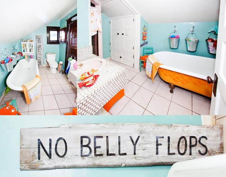 no belly flops...fun kids bathroom