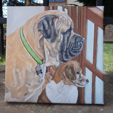 """43 Likes, 1 Comments - Christa (@oilpaintingschrista) on Instagram: """"Custom order 2 dogs  portrait #painting #oilpaintingschrista #oilpainting #dogportrait #art #artist…"""""""
