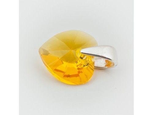 Swarovski Heart Pendant 10mm Light Topaz  Dimensions: length: 1,4cm stone size: 10mm Weight ~ 0,72g ( 1 piece ) Metal : sterling silver ( AG-925) Stones: Swarovski Elements 6228 10mm Colour: Light Topaz 1 package = 1 piece Price 5.49 PLN