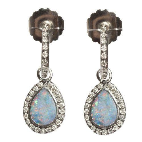 #Armenta New World #SterlingSilver #Opal & White #Diamond Drop #Earrings