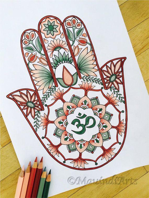Hamsa Om dibujado a mano colorante adultos página por MauindiArts