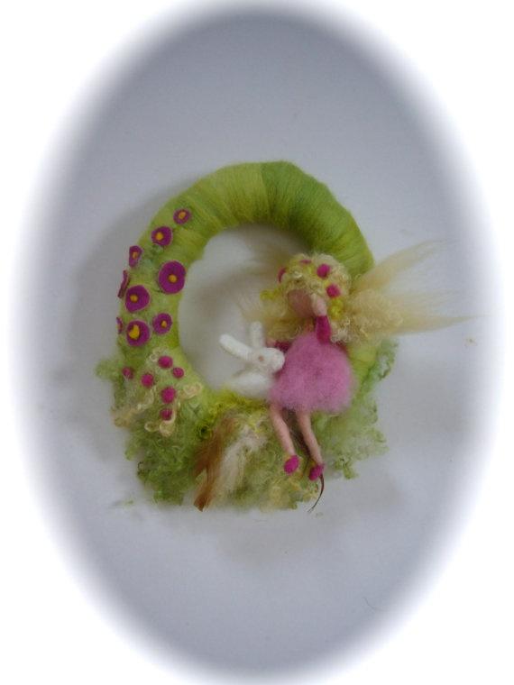 Spring Fairy Wreath BunnyNeedle Felted WaldorfWool