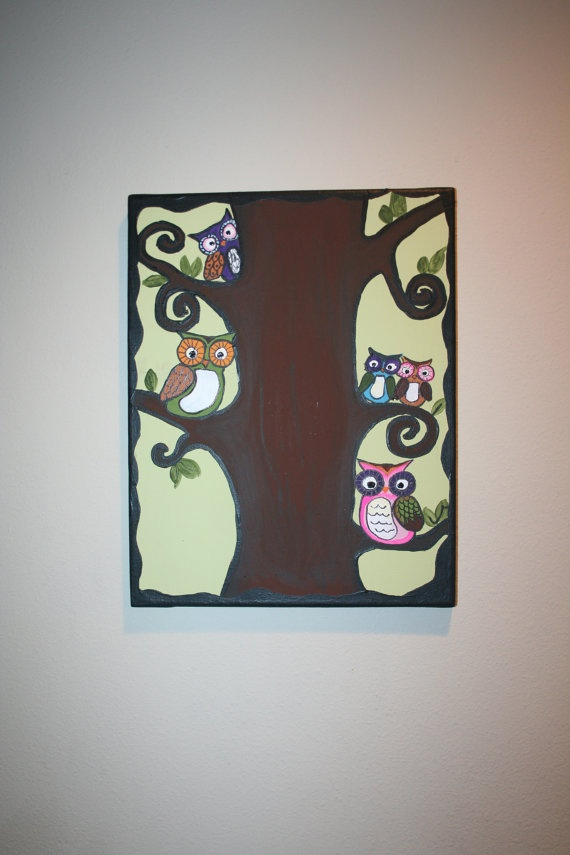owl canvas painting 11x14 very unique handmade by by Erickaooaks, $35.00
