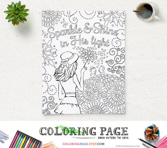 Printable Coloring Page Bible Verse Sparkle and Shine in His light Instant Download Kids Coloring Pages Printable Bible Quote Art Therapy