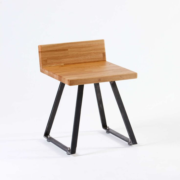 Fu.Mod.Sto.1   Stool with steel legs and wooden seat from oak or plywood. It couples with the bench Fu.Mod.Ben.1.