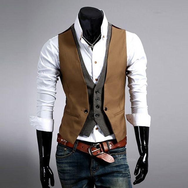 Alta calidad de la manera Hombres Chaleco Para Hombre Casual Traje-v cuello Slim Fit Chalecos de los hombres de color caqui/negro tamaño Asiático: M ~ XXL hombres ropa GA65
