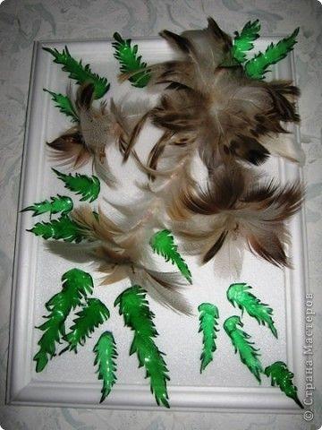 Поделка сова из перьев