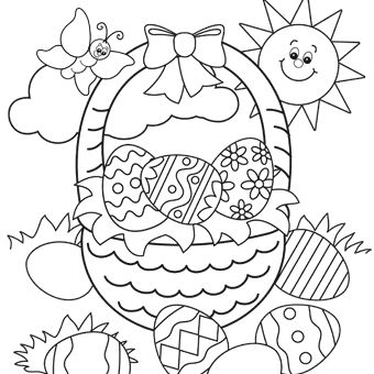 easter basket color pages - Coloring Page For Kindergarten