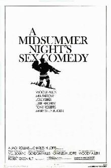 A Midsummer Night's Sex Comedy is a 1982 film written, directed by and starring Woody Allen.  The plot is loosely based on Ingmar Bergman's Smiles of a Summer Night. This was the first of 13 movies that Allen would make starring Mia Farrow. Farrow's role was originally written for another famous Allen lead actress, Diane Keaton, but she was busy promoting her film Reds and preparing to begin production on Shoot the Moon.