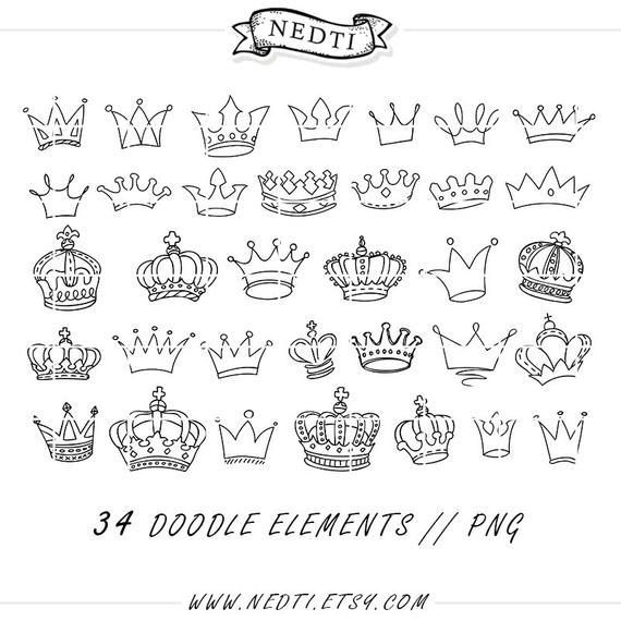 Crowns Doodle Hand Drawn Vector Prince Crown Digital Clipart Etsy Sketch Book How To Draw Hands Doodle Drawings