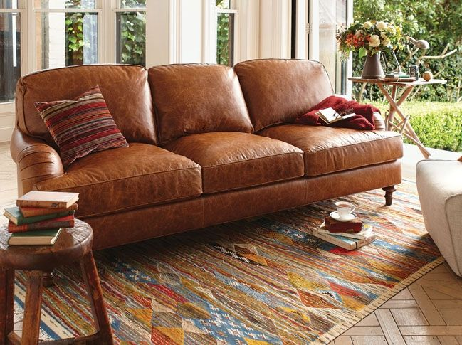 Bay Republic Leather Manor House Sofa Traditional 3 Seat