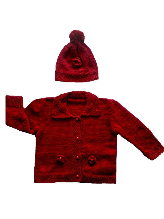 Hand knit kids' cardigan baby cardigan hand knitted by woolopia, $35.00