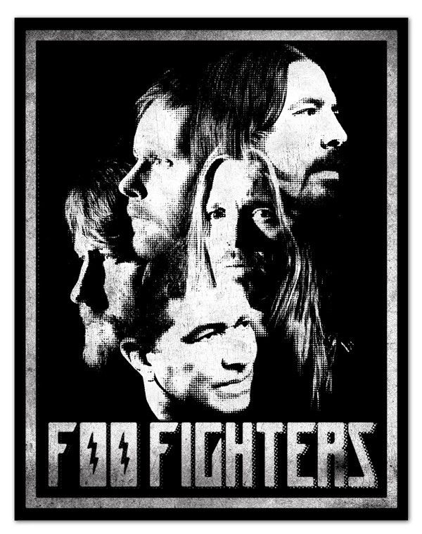 Foo Fighters Poster- Black & White