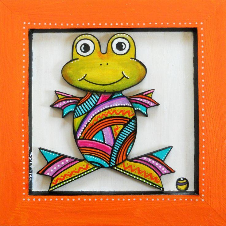 """Tableau en bois peint de la petite grenouille """"Phibie"""""""