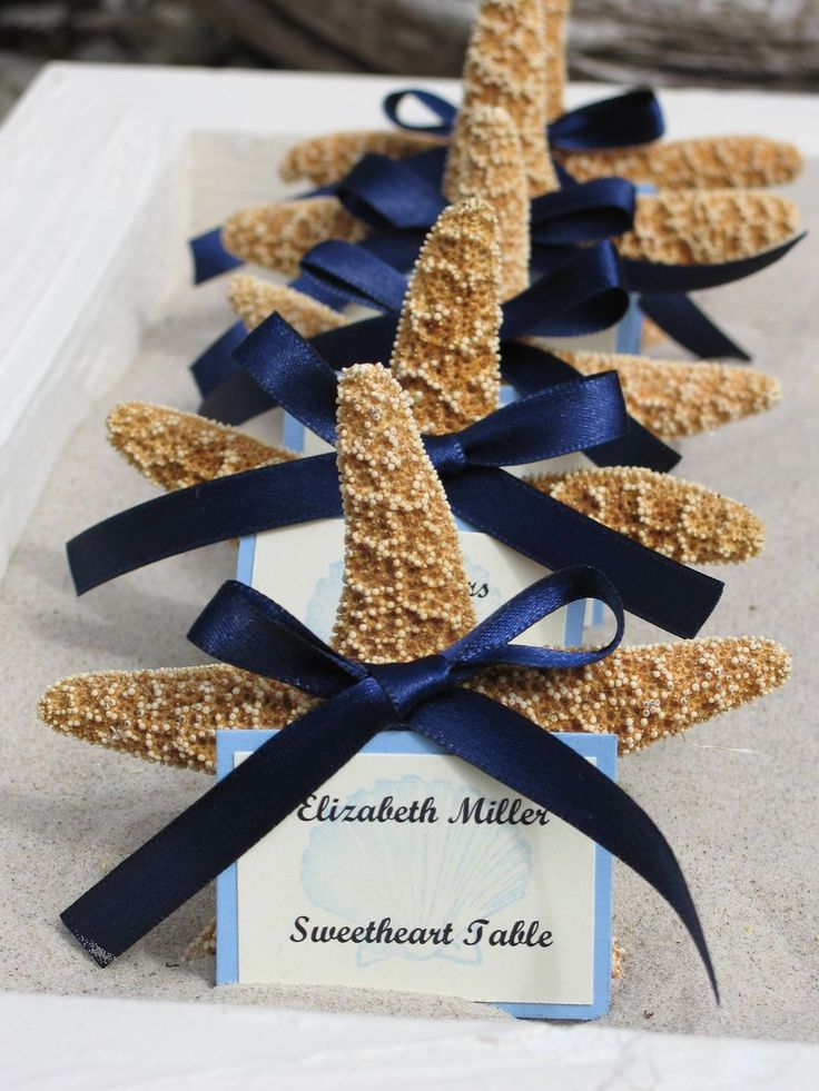 Wedding Invitation Ideas, Unique Beach Wedding Invitations Combined With Attractive Starfishes And Lovely Navy Blue Ribbon Decoration Create Charming Unique Wedding Invitations Ideas: Unique Wedding Invitations to Attract Wedding Guest Attention