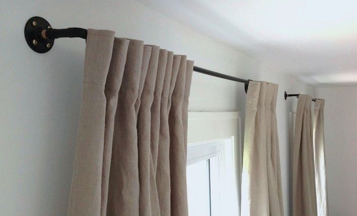 DIY: The Copper Pipe Curtain Rod for $35: Remodelista. Perfect for windows or closet cover while we wait on doors.
