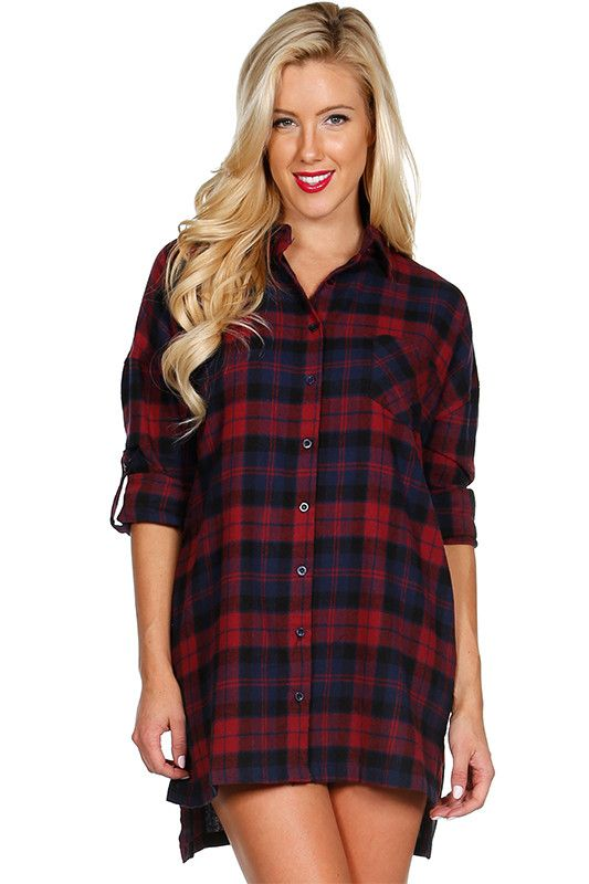 Oversized plaid button down flannel in a long tunic length. Looks super cute thrown over a casual top and denims.
