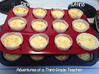 Add 20 oz crushed pineapple to angel food cake mix and bake in muffin cups for 10 min at 350