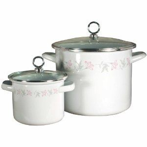 Corelle Coordinates 8 Quart and 1.5 Quart Stock Pot Set, Pink Trio by Corelle Coordinates. $47.99. Made of enamel on steel. Comes with glass lid. 8 quart stock pot: 10 L x 10 W x 8 Inch H. 1.5 quart stock pot: 6.5 L x 6.5 W x 4.5 Inch H. Hand wash recommended or top rack dishwasher. This is a set of 2 stock pots, one 8 quart and one 1.5 quart. They are made of enamel on steel with stainless steel rims. Each pot comes with a heat tempered glass lid. The 8 quart stock pot had a ...